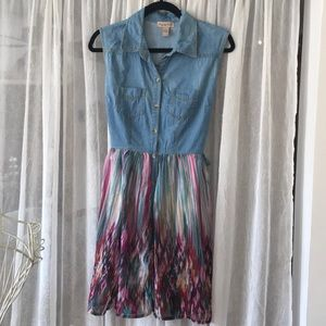 Junior's Denim Rainbow Dress
